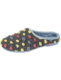 Zapatillas de andar por casa para mujer con diseño de lunares y suela de goma