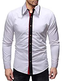 BUSIM Men's Long Sleeved Shirt Autumn Winter Fashion Casual Retro Solid Color Stitching Under The Collar Slim...