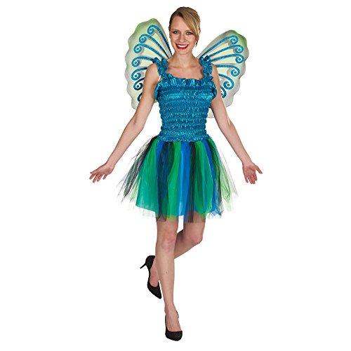 Damen Kostüme Erwachsene Pfau (Schmetterling Kostüm Kleid mit Flügeln Damen zum Karneval grün blau -)