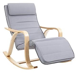 SONGMICS Schaukelstuhl Relaxstuhl 5-Fach Verstellbare Wadenstütze Belastbarkeit 150 kg grau LYY41G