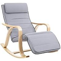 SONGMICS Rocking Chair, Fauteuil à Bascule, avec Repose-Pieds réglable à 5 Niveaux, Charge Max 150 kg, Gris Clair LYY41G