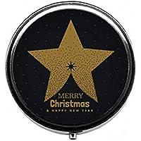 LinJxLee Merry Christmas Stars Round Pill Case Pill Box Tablet Vitamin Organizer Easy to Carry preisvergleich bei billige-tabletten.eu