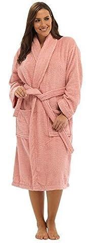 Ladies 100% Cotton Towlling Bath Robe LN566 Pink L
