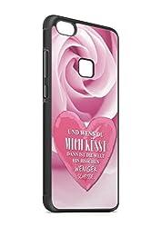 aina Kompatibel mit Samsung Galaxy A40 Silikon Handyhülle Flexibles Slim Case Cover Spruch Sprüche Zitat Küssen Schwarz