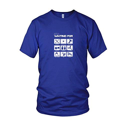 iting for - Herren T-Shirt, Größe L, Blau (Anime-kostüm-ideen)