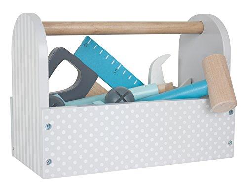 "JaBaDaBaDo \""Werkzeugkiste weiß grau Spielkiste Werkzeug Spielbox Werkzeugkasten Werkzeugkoffer Holzwerkzeug Holz Kinderspiel Spielzeug Kinder"