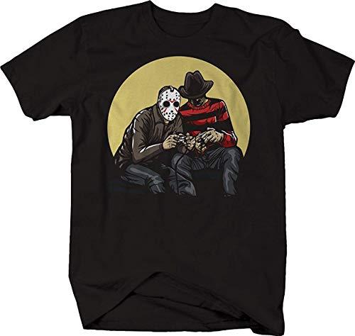y Movie Villains Spielen von Videospielen Jason Freddy Herrenmode Grafik Sommer Kurzarm Casual Tees Lässig Bequem (Color : Black, Size : 3XL) ()
