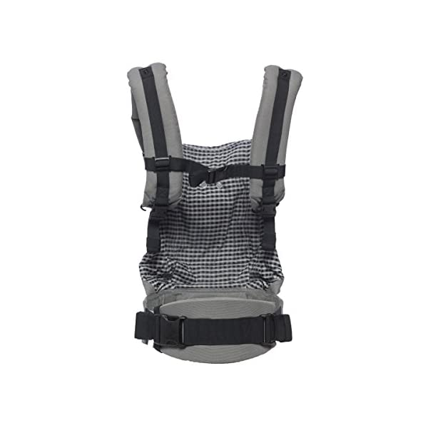 "Ergobaby Baby Carrier Toddler Front Back Original Steel Plaid, 100% Cotton Ergonomic Child Carrier Backpack Ergobaby Ergonomic Baby Carrier - Ergonomic for baby with wide deep seat for a spread-squat, natural ""M"" seated position. Baby carrying system with 3 carry positions:  front-inward, hip and back. From baby to toddler: 5.5*-15 kg (* from 3.2-5.5 kg / 7-12 lbs with Infant Insert, sold separately). Wearing comfort - All-day comfort with extra-padded shoulder straps (1 inch high density foam) and padded waistbelt  (1/4 inch) 7"