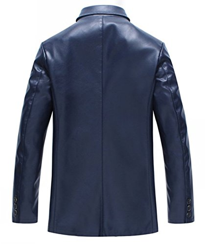 Männer Leder Unternehmen Leder Anzug Kragen Leder Jacke Blau
