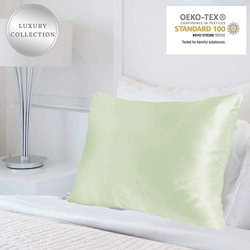MYK Luxus 100% reinen, natürlichen (Mulberry) Seide Kissenbezüge 25Momme beide Seite für Haar & Facial (Tief Umschlag Design), Seide, grün, Queen -