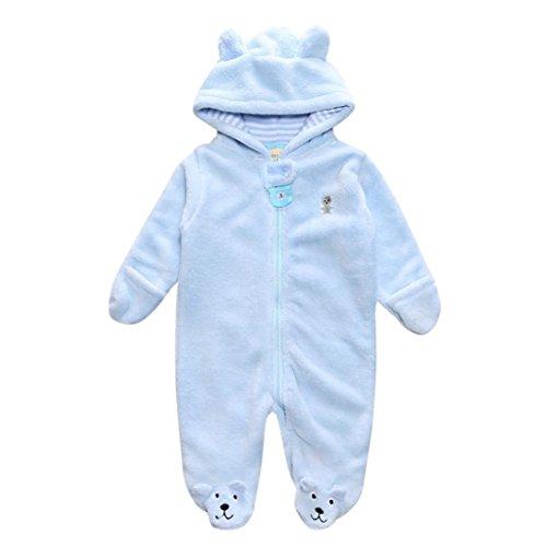 babykleidung Hirolan Neugeboren Kapuzenpullover Pyjama Baby Spielanzug Säugling Junge Mädchen Bär Lange Hülse Overall Herbst Winter Plüsch Kleider 0-9 Monate (9Monate, (Kostüm Gestreifte Pyjamas)