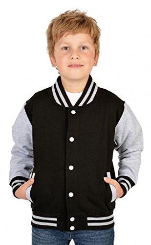 USA Jungen Collegejacke in schwarz - Weißer Tiger Wildkatze - Kinder Schul Jacke mit Motiv Dschungel - Geschenk, Kinder Größe:XL / 152 (Jacken Kinder Tiger)