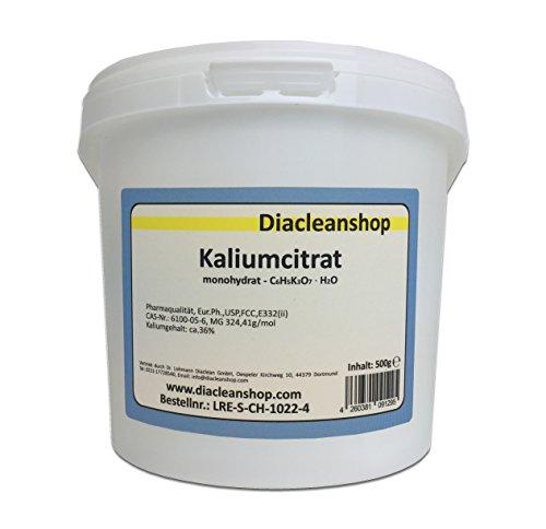 Kaliumcitrat Monohydrat 500g – Kaliumgehalt 36% – Pharmaqualität mind. 99% – Pulver – E332