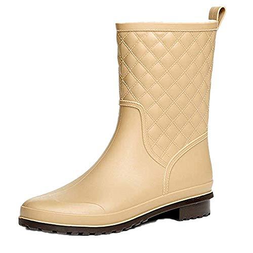 Halbhohe Gummistiefel Damen Kurz Frauen Regenstiefel Stiefeletten Gartenarbeit Mode Outdoor Boots Khaki 37
