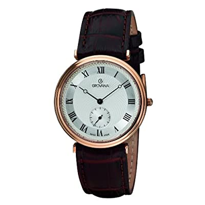 GROVANA 1276.5568 Men's Quartz Swiss Watch with Silver Dial Analogue Display and Brown Leather Strap