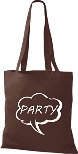 shirtstown Borsa di stoffa FUMETTO PARTY Marrone