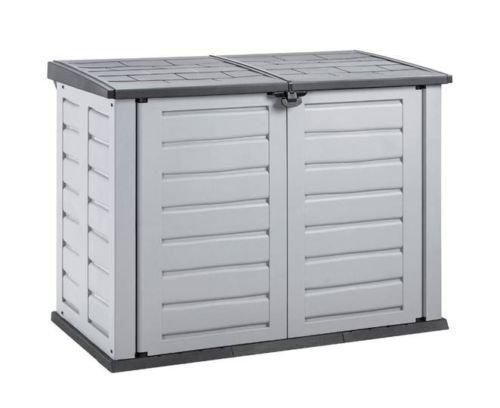 XXL Mülltonnenbox aus robustem Kunststoff. Deckelöffnung mit Gasdruckfeder. Abschließbar. Passend für 240 Liter Mülltonnen. Maße 155,8 x 90,4 x 116,6 cm. - 2