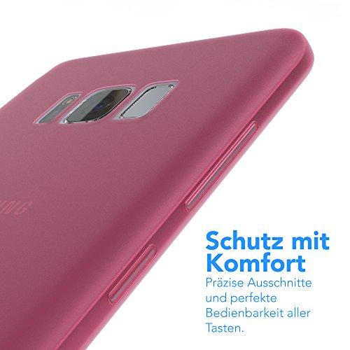 "EAZY CASE Handyhülle für Samsung Galaxy S8 Plus Hülle - Premium Handy Schutzhülle Slimcover ""Brushed"" Aluminium Design - TPU Silikon Backcover in brushed Lila Matt Pink"