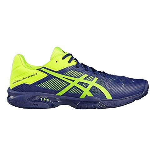 Asics Gel-Solution Speed 3, Chaussures de Tennis Homme, Bleu Foncé/Jaune bleu indigo/jaune fluo