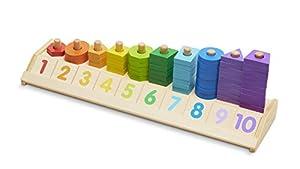 Melissa & Doug Apiladora de formas para contar (juguete educativo de madera con 55 piezas de formas y 10 fichas de números)