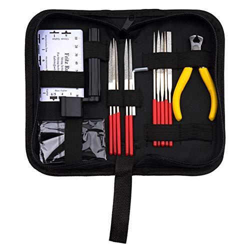 ratur-Werkzeug-Set - Gitarrenpflege-Set mit Bundfeile & Saitenkurbel & Saitenschneider & Sechskantschlüssel & Saiten-Lineal für Gitarre, Ukulele, Bass, Mandoline, Banjo ()