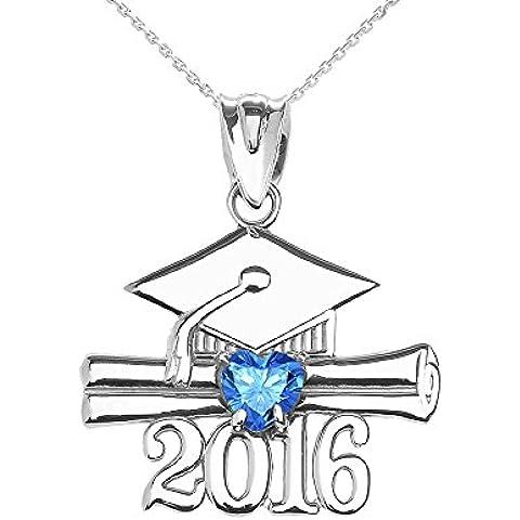 Donne Collana Pendente 10 Ct Bianco Oro Cuore Dicembre Birthstone Azzurro Zirconia Classe Del 2016 Graduazione (Viene Fornito Con Una Catena Da 45cm)