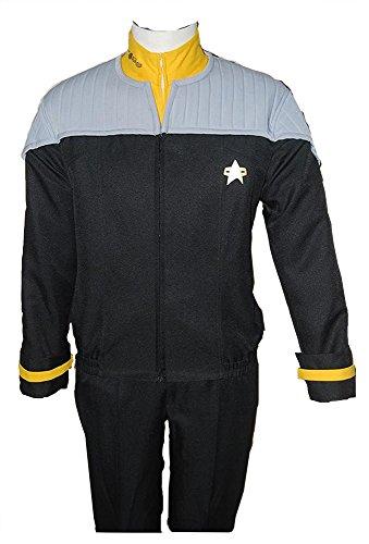 MingoTor Star Trek NEM Nemesis Voyager Captain Sisko Gelb Uniform Cosplay Kostüm Herren (Star Trek Voyager Kostüm)