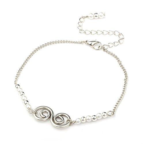 Idin Jewellery Cavigliera vortice color argento con perla bianca vetro