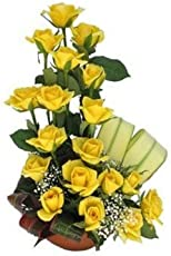 Floralbay Mother's Day Special One Sided arrangement of 18 Yellow Roses with Greenery