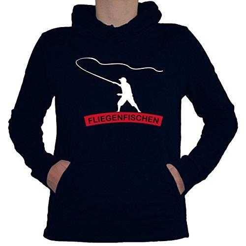 Shirtfun24 Damen ANGELN FLIEGENFISCHEN Angler Fun Lady Hoodie