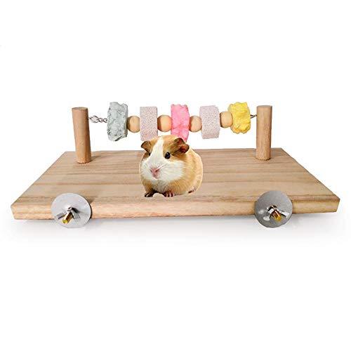 Criceto a criceto altalena in legno piccola gabbia per animali criceto accessori,piattaforma girevole in legno e striatura in pietra per pappagallo e altri piccoli animaletti mordere la masticazione