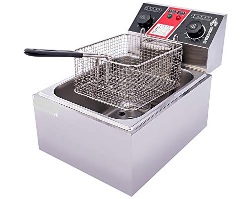 MAZORIA Steel Electric Deep Fryer (Silver) - 6 LTR with Timer Controller