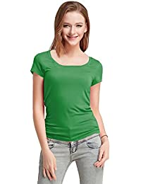 Fashion Line Premium Quality Stylish Printed Round Neck T Shirts For Women _Color : Green _Material : Cotton (Pack of 1 )