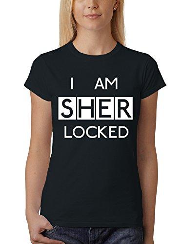 clothinx Damen T-Shirt Fit I am Sherlocked Schwarz Gr. L