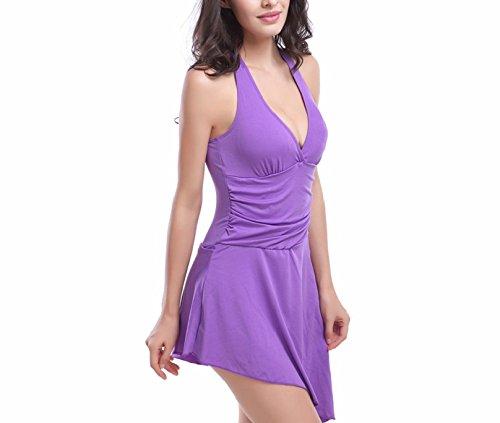 Shangrui Damen Bademode Series Mode Feste Farbe Einteiliger Badeanzug(FZSWVS006) Lila
