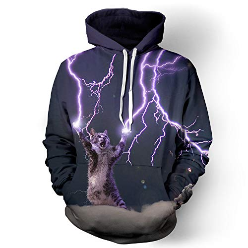 (Unisex Hoodies mit 3D Printed Long Sleeve Baseball Uniform Sweatshirt Jumper Clothes Lightning Cat Purple Starry Sky,XXL)