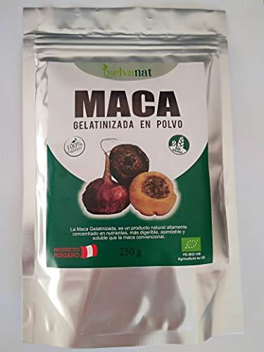 Maca Gelatinizada en polvo. Sin gluten No-OMG Orgánica y Vegana. Energía, Fertilidad, Equlibrio Hormonal y Salud Sexual para mujeres y hombres. Producto peruano. 250 g.