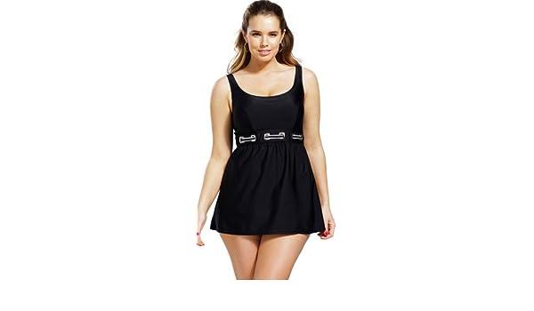 02e8d0c2e046e Delta Burke Black Plus Size Nautical Grommet Accent Swimdress Women'S  Swimsuit - Black - Size:28: Amazon.co.uk: Clothing