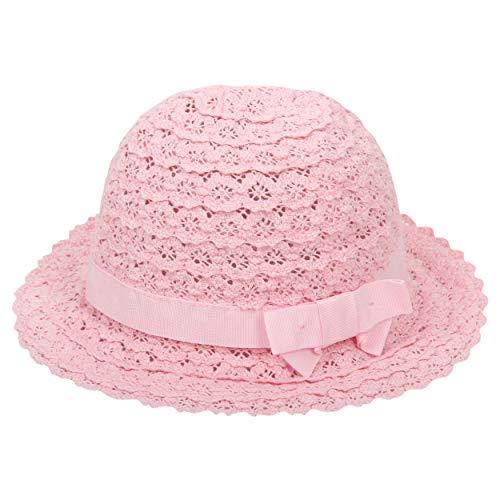 ANIMQUE Baby Baumwolle Sonnenhut Spitze Durchbrochen Strickmütze Mädchen Super Weich Prinzessin Hut Sommer Süß Eimerhut Rosa, Kopfumfang 52cm XL -