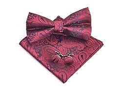 Idea Regalo - Massi Morino Set di papillon Paisley - con papillon, fazzoletto, gemelli da polso incl. confezione regalo, papillon da uomo in vari colori (Rosso scuro)