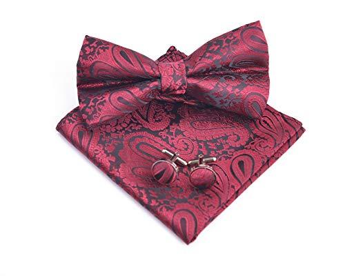 Massi Morino ® Paisley Fliegen Set - Herrenfliege in verschiedenen Farben (Weinrot) dunkelrot paisley paisleyfarben rotfarben paisleymuster rotefliege paisleyfliege red paisleymotiv