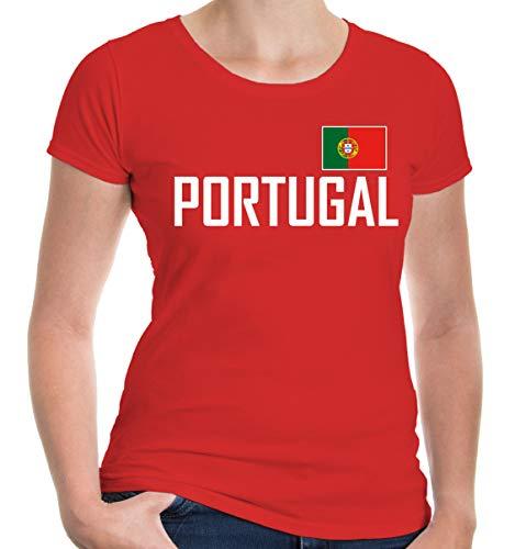 buXsbaum Damen Girlie T-Shirt Portugal Portuguesa Portogallo Europa Ländershirt Fanshirt Flagge Trikot Reise   XS, Rot