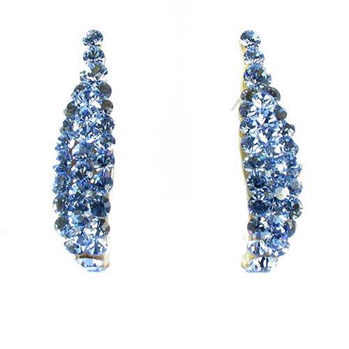 Jimmy on Blue Crystal-Orecchini placcati in argento, con strass - Orecchini Strass Clip Ons