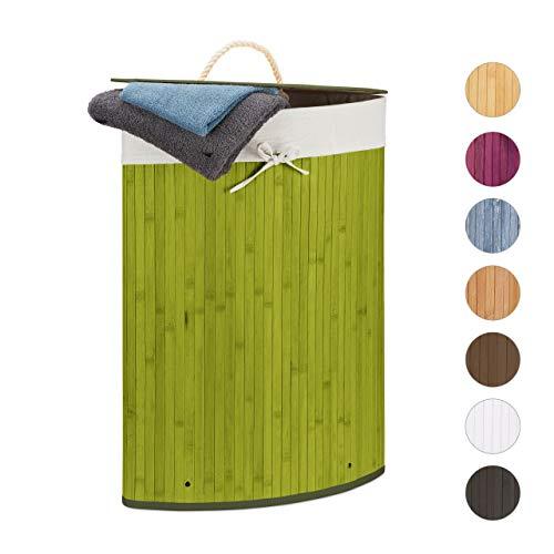 Relaxdays cesta porta-biancheria angolare in bambù, 60 l, pieghevole, con coperchio, sacco, verde, 65,5x49,5x37 cm