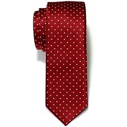 Corbata de microfibra con lunares, de Retreez, estrecha Rojo Red Wine with Pink Pin Dots Talla única