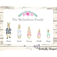 Personalised Watercolour Peter Rabbit Family A4 PRINT (NO FRAME) Picture Design 1