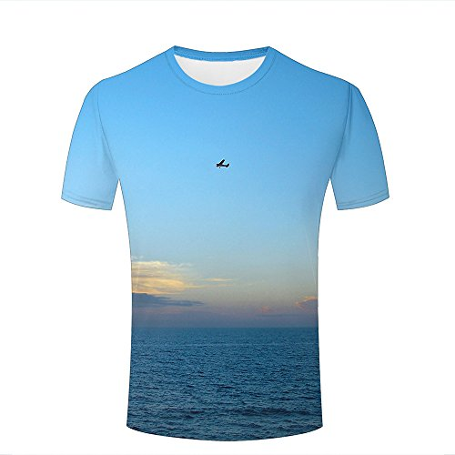 qianyishop Mens Womens Casual Design 3D Printed Airplane in The Blue Sky Graphic Short Sleeve Couple T-Shirts Top Tee S -
