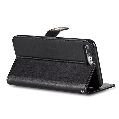 Cozy Hut® Ultra Schlank Folio Handyhülle / für iPhone 7 PLUS (5.5 zoll) Cover / Case / Bumper Hülle Schutzhülle / Rückdeckel Schutzhülle / Handy Hülle / Ultra-thin soft shell / Strass Bräunung Stil Bl schwarz