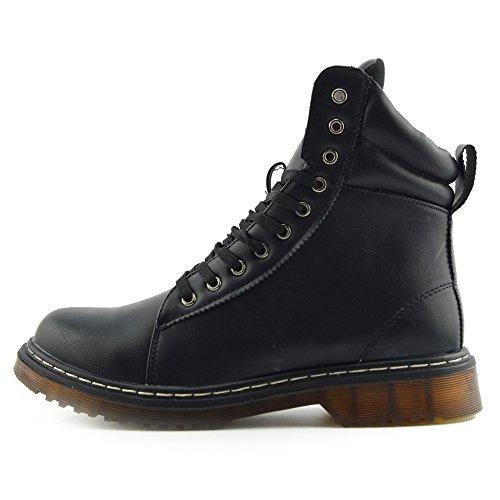 Kick Footwear - DONNA LADIES VINTAGE RETRÒ GROSSO PIATTO PIZZO PUNK BIKER STIVALETTI SCARPE UK Nero Opaco AB03