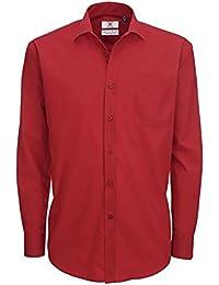 Chemise élégante à manches longues en popeline B&C pour homme